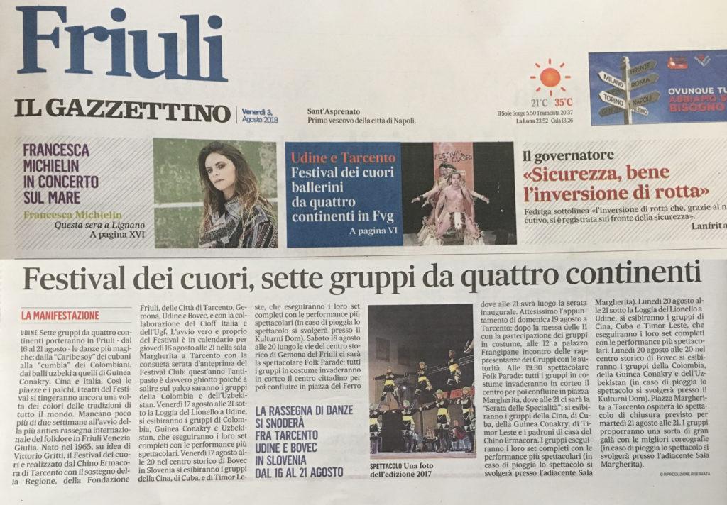 Il Gazzettino del Friuli 03/08/2018